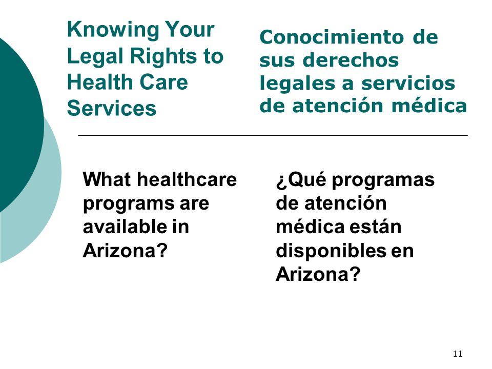 11 Knowing Your Legal Rights to Health Care Services What healthcare programs are available in Arizona? Conocimiento de sus derechos legales a servici