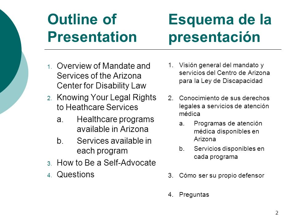 Outline of Presentation 1. Overview of Mandate and Services of the Arizona Center for Disability Law 2. Knowing Your Legal Rights to Heathcare Service