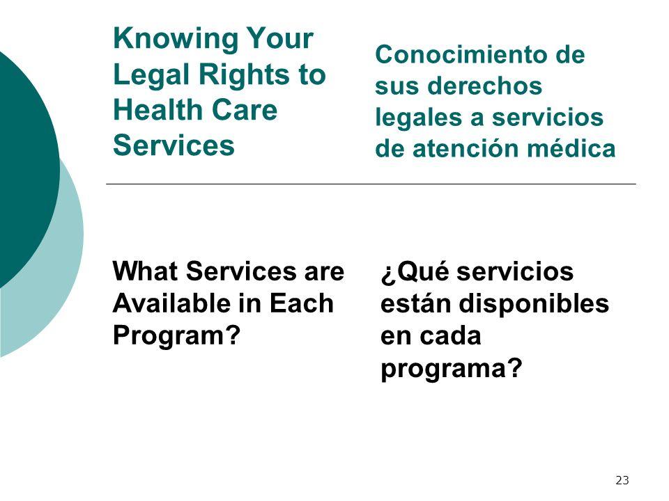23 Knowing Your Legal Rights to Health Care Services What Services are Available in Each Program? Conocimiento de sus derechos legales a servicios de