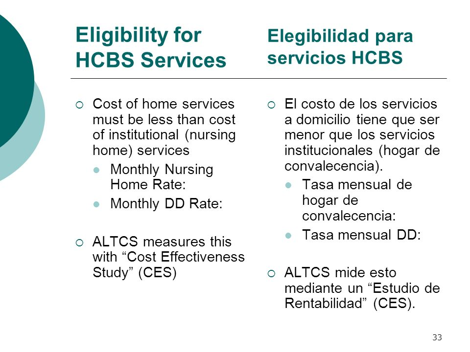 Eligibility for HCBS Services Cost of home services must be less than cost of institutional (nursing home) services Monthly Nursing Home Rate: Monthly