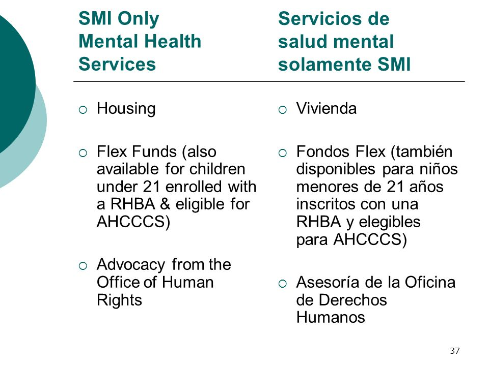 SMI Only Mental Health Services Housing Flex Funds (also available for children under 21 enrolled with a RHBA & eligible for AHCCCS) Advocacy from the