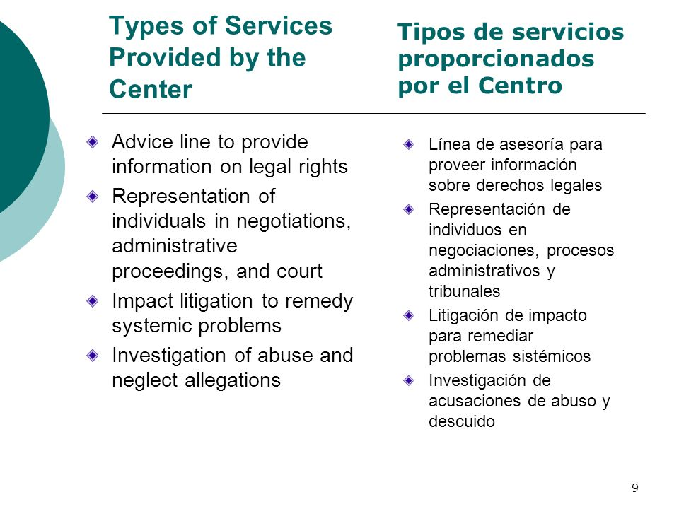 9 Types of Services Provided by the Center Advice line to provide information on legal rights Representation of individuals in negotiations, administr