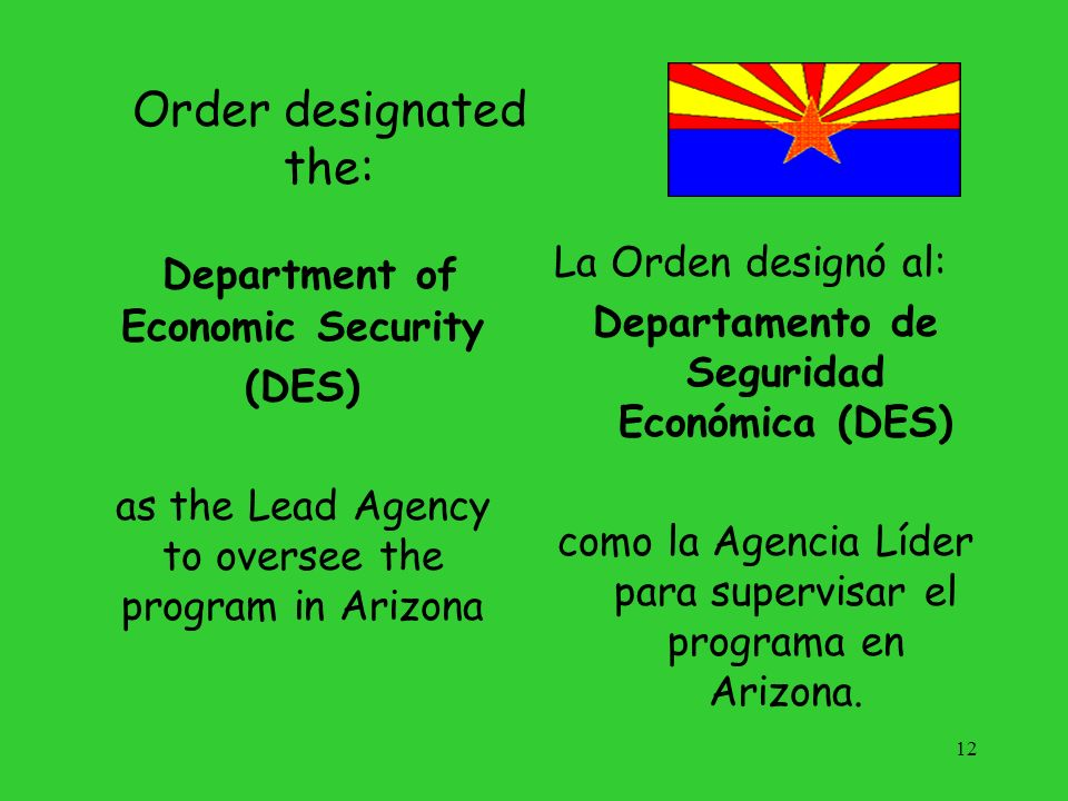 Order designated the: Department of Economic Security (DES) as the Lead Agency to oversee the program in Arizona La Orden designó al: Departamento de
