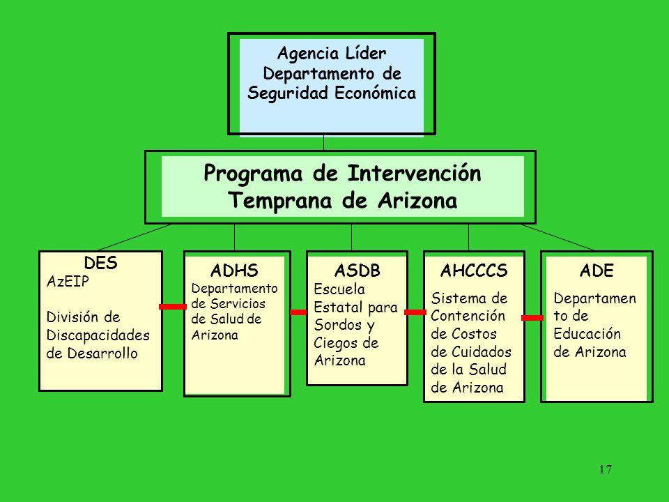 17 Agencia Líder Departamento de Seguridad Económica Programa de Intervención Temprana de Arizona DES AzEIP División de Discapacidades de Desarrollo A