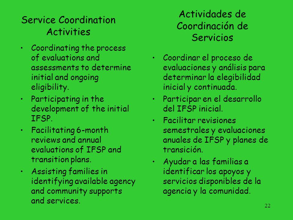 Service Coordination Activities, (cont.) Coordinating and monitoring the delivery of available services.