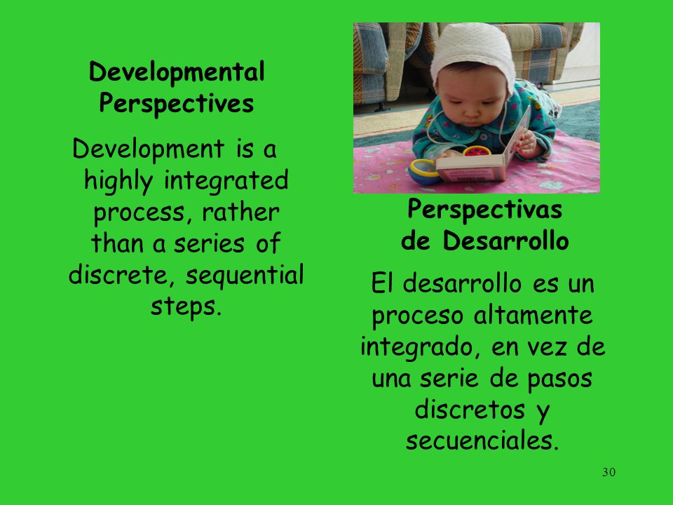 Arizonas Definition of Developmental Delay A child birth to 36 months of age who has not reached 50 percent of the developmental milestones expected at his/her chronological age, in one or more of the following domains: Physical (fine and/or gross motor, sensory including vision and/or hearing) Cognitive Communication Social or emotional Adaptive 31 Definición de Arizona para Retraso del Desarrollo Un niño de nacimiento a 36 meses de edad que no ha alcanzado el 50 por ciento de las metas de desarrollo esperadas a su edad cronológica, en uno o más de las áreas siguientes: Física (motricidad fina y/o gruesa, sensorial incluyendo visión y/o oído) Cognitiva Comunicación Social o emocional Adaptiva