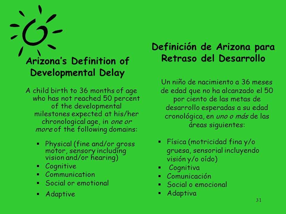 Definition (continued) OR Established Conditions Known to have a high probability of resulting in developmental delay Must be diagnosed by a qualified professional O Condiciones establecidas Que se sabe que tienen una alta probabilidad de resultar en retraso del desarrollo Tiene que ser diagnosticada por un profesional calificado.