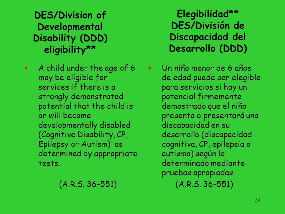 Arizona State Schools for the Deaf and the Blind Eligibility: –Diagnosed, bilateral, permanent hearing loss; and/or -Medically diagnosed visual impairment AND the visual/hearing impairment must interfere with the childs performance in their educational environment Elegibilidad: -Pérdida auditiva diagnosticada, bilateral, permanente; y/o -Impedimento visual diagnosticado médicamente, Y el impedimento visual/auditivo tiene que interferir con el rendimiento del niño en su entorno educativo.