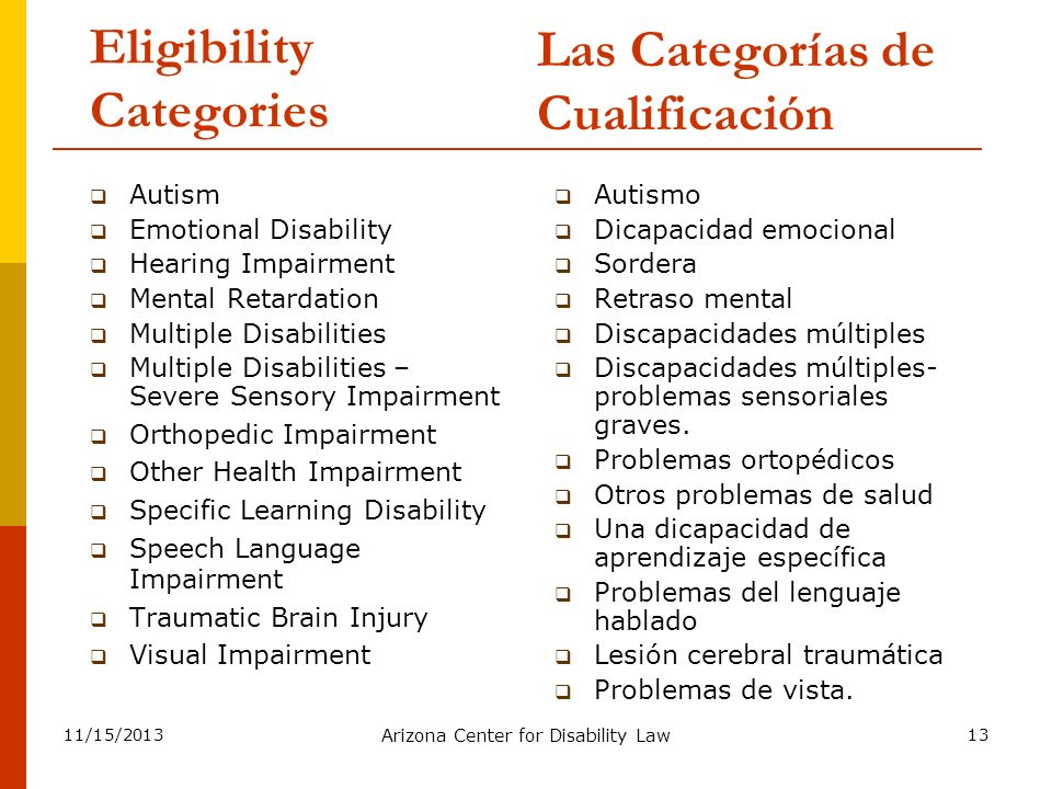 11/15/2013 Arizona Center for Disability Law 13 Eligibility Categories Autism Emotional Disability Hearing Impairment Mental Retardation Multiple Disa