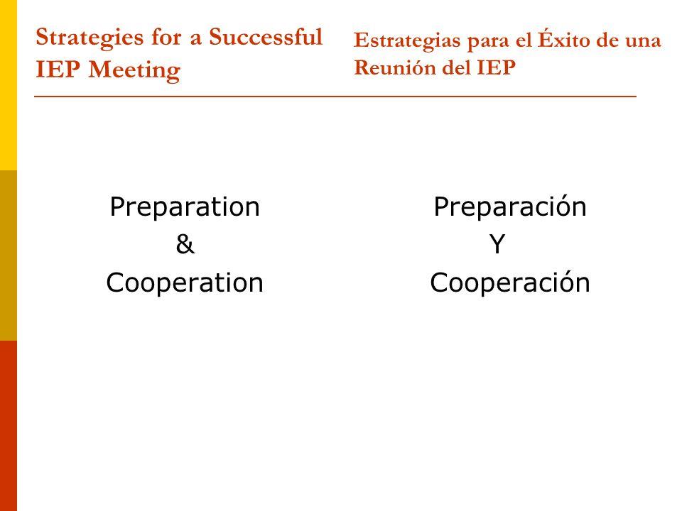 Preparation & Cooperation Preparación Y Cooperación Strategies for a Successful IEP Meeting Estrategias para el Éxito de una Reunión del IEP