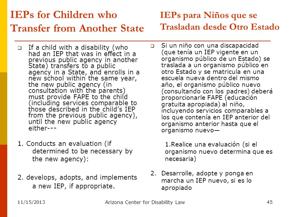 11/15/2013 Arizona Center for Disability Law 45 IEPs for Children who Transfer from Another State If a child with a disability (who had an IEP that wa