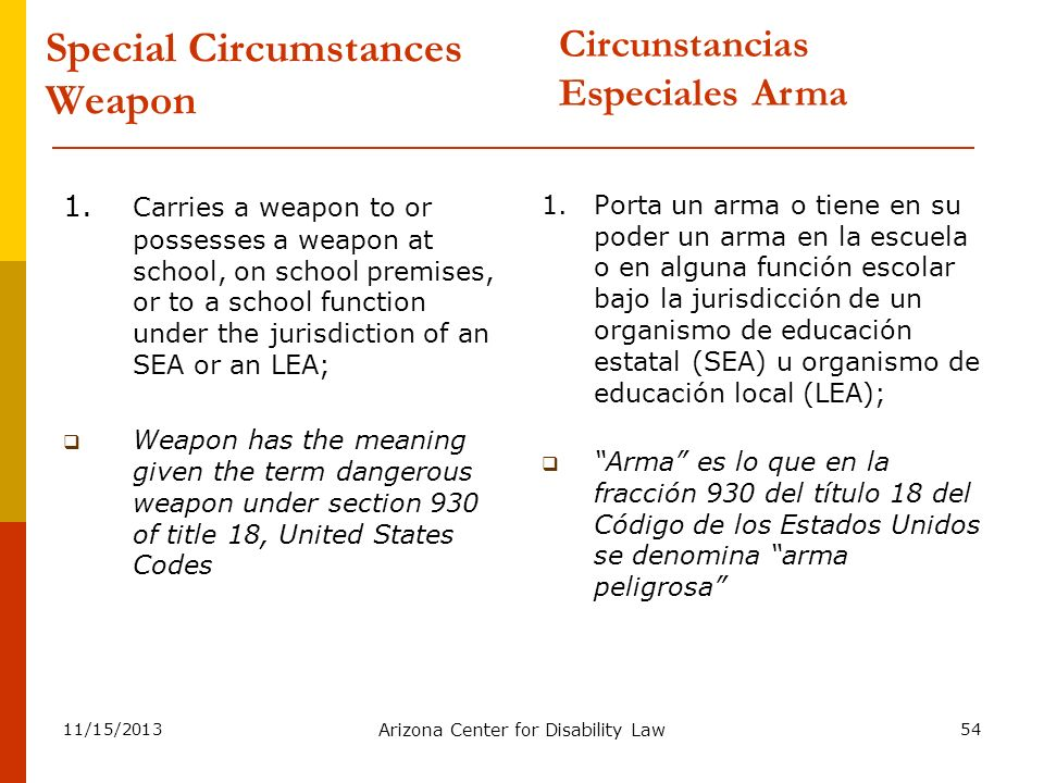 11/15/2013 Arizona Center for Disability Law 54 Special Circumstances Weapon 1. Carries a weapon to or possesses a weapon at school, on school premise