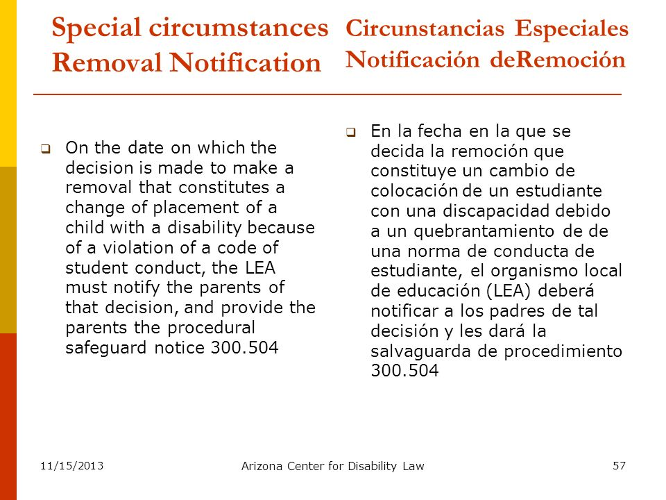 11/15/2013 Arizona Center for Disability Law 57 Special circumstances Removal Notification On the date on which the decision is made to make a removal
