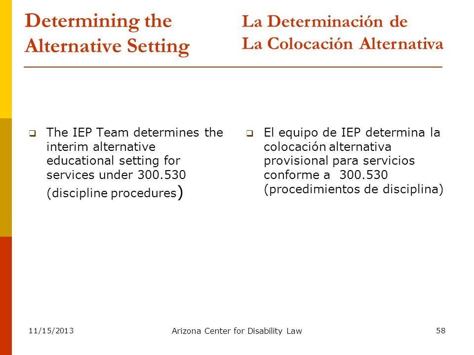 11/15/2013 Arizona Center for Disability Law 58 Determining the Alternative Setting The IEP Team determines the interim alternative educational settin