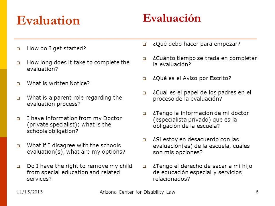 11/15/2013 Arizona Center for Disability Law 7 Prior Written Notice WRITTEN NOTICE….