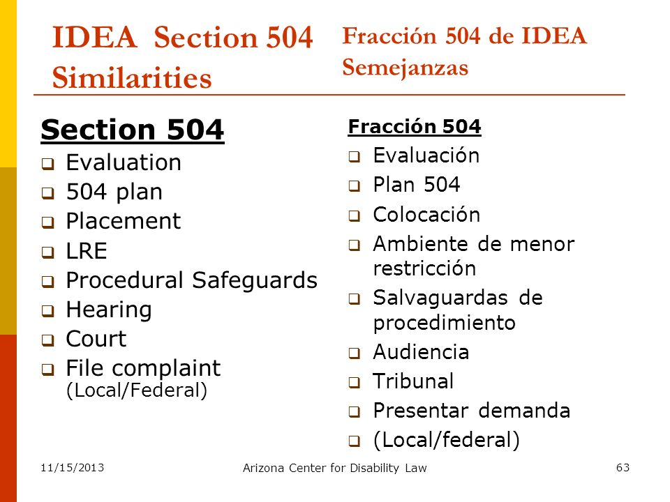 11/15/2013 Arizona Center for Disability Law 63 IDEA Section 504 Similarities Section 504 Evaluation 504 plan Placement LRE Procedural Safeguards Hear