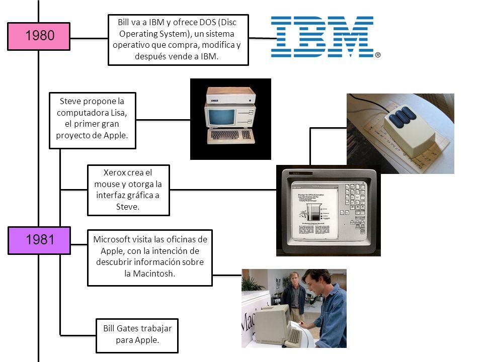 1980 1981 Bill va a IBM y ofrece DOS (Disc Operating System), un sistema operativo que compra, modifica y después vende a IBM. Steve propone la comput