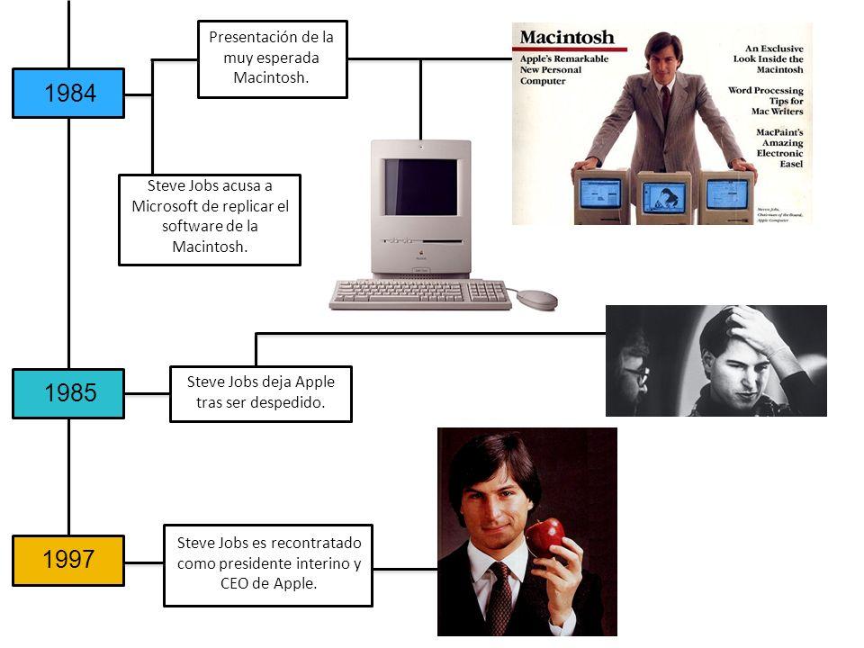 Presentación de la muy esperada Macintosh. Steve Jobs deja Apple tras ser despedido. Steve Jobs es recontratado como presidente interino y CEO de Appl