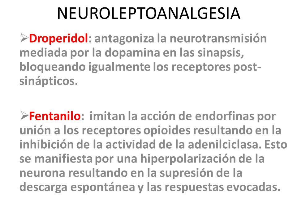 NEUROLEPTOANALGESIA Droperidol: antagoniza la neurotransmisión mediada por la dopamina en las sinapsis, bloqueando igualmente los receptores post- sin