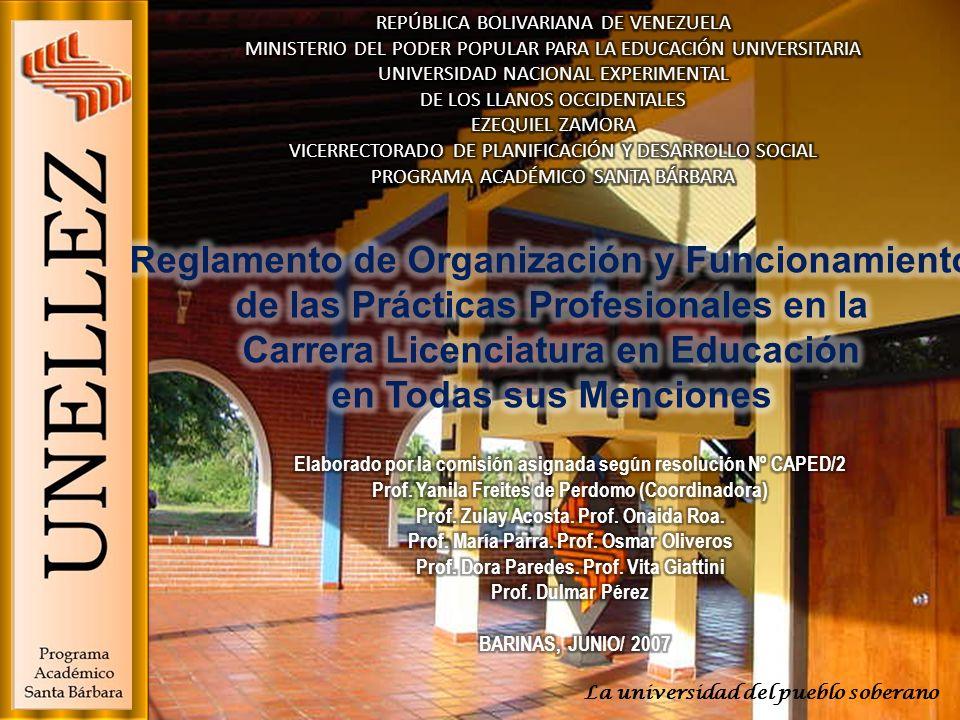 CAPÍTULO I : DISPOSICIONES FUNDAMENTALES CAPÍTULO II : DE LA ESTRUCTURA ORGANIZATIVA PARA LA ADMINISTRACIÓN DE LAS PRÁCTICAS CAPITULO III: DEL TUTOR ACADÉMICO CAPITULO IV: DEL PROFESOR ASESOR CAPITULO V: DE LOS COORDINADORES ESTUDIANTILES CAPITULO VI: DE LOS PASANTES CAPITULO VII : DE LOS CENTROS DE APLICACIÓN CAPÍTULO VIII: DE LA ACREDITACIÓN POR EXPERIENCIA CAPITULO IX: DEL PROCESO DE EVALUACIÓN DE LAS PRÁCTICAS DISPOSICIÓN FINAL