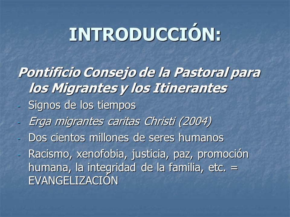 INTRODUCCIÓN: Pontificio Consejo de la Pastoral para los Migrantes y los Itinerantes - Signos de los tiempos - Erga migrantes caritas Christi (2004) -