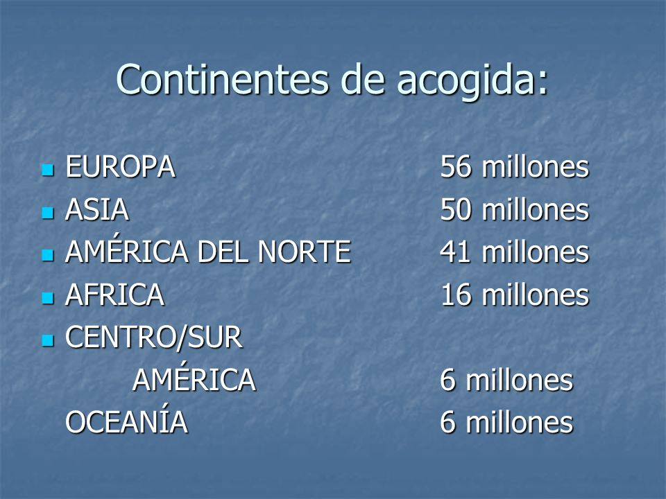 Continentes de acogida: EUROPA56 millones ASIA50 millones AMÉRICA DEL NORTE41 millones AFRICA16 millones CENTRO/SUR AMÉRICA6 millones OCEANÍA6 millone