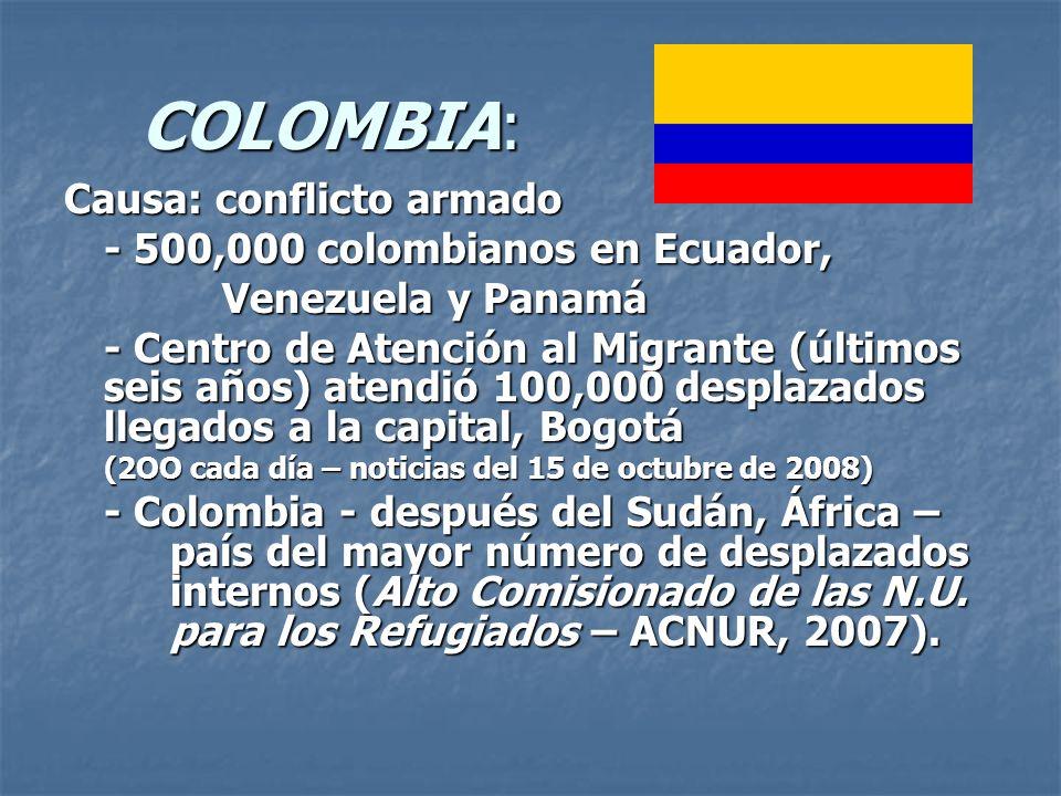 COLOMBIA: COLOMBIA: Causa: conflicto armado - 500,000 colombianos en Ecuador, Venezuela y Panamá Venezuela y Panamá - Centro de Atención al Migrante (