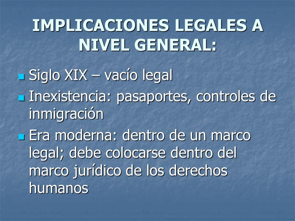 IMPLICACIONES LEGALES A NIVEL GENERAL: Siglo XIX – vacío legal Siglo XIX – vacío legal Inexistencia: pasaportes, controles de inmigración Inexistencia