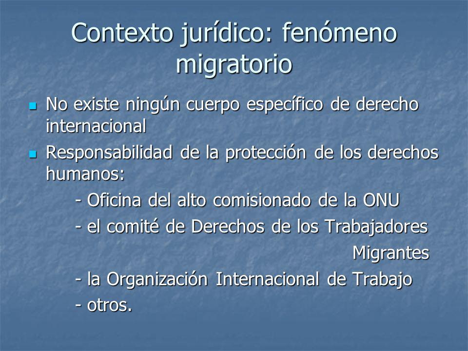 Contexto jurídico: fenómeno migratorio No existe ningún cuerpo específico de derecho internacional No existe ningún cuerpo específico de derecho inter