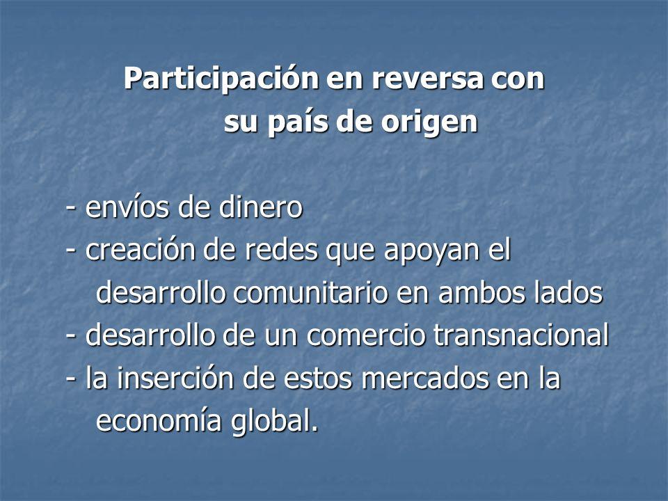Participación en reversa con su país de origen su país de origen - envíos de dinero - creación de redes que apoyan el desarrollo comunitario en ambos