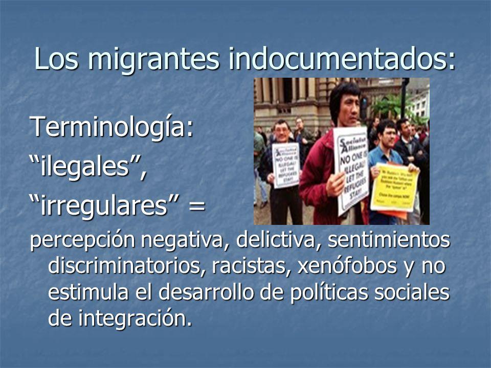 Los migrantes indocumentados: Terminología:ilegales, irregulares = percepción negativa, delictiva, sentimientos discriminatorios, racistas, xenófobos