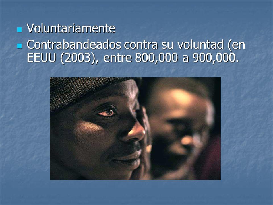 Voluntariamente Contrabandeados contra su voluntad (en EEUU (2003), entre 800,000 a 900,000.