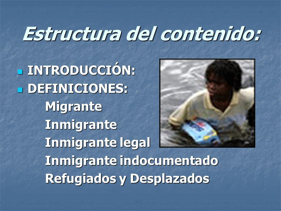 Estructura del contenido: INTRODUCCIÓN: INTRODUCCIÓN: DEFINICIONES: DEFINICIONES:MigranteInmigrante Inmigrante legal Inmigrante indocumentado Refugiad