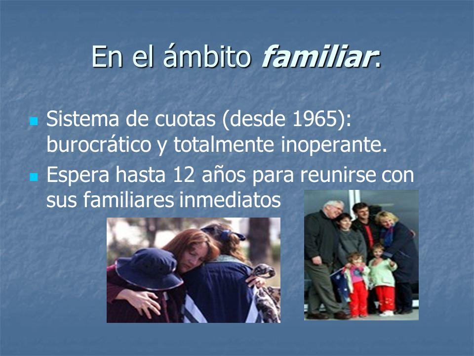 En el ámbito familiar: Sistema de cuotas (desde 1965): burocrático y totalmente inoperante. Espera hasta 12 años para reunirse con sus familiares inme