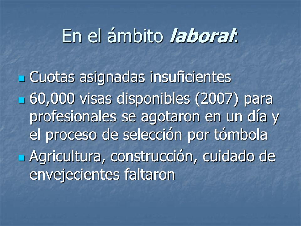 En el ámbito laboral: Cuotas asignadas insuficientes 60,000 visas disponibles (2007) para profesionales se agotaron en un día y el proceso de selecció