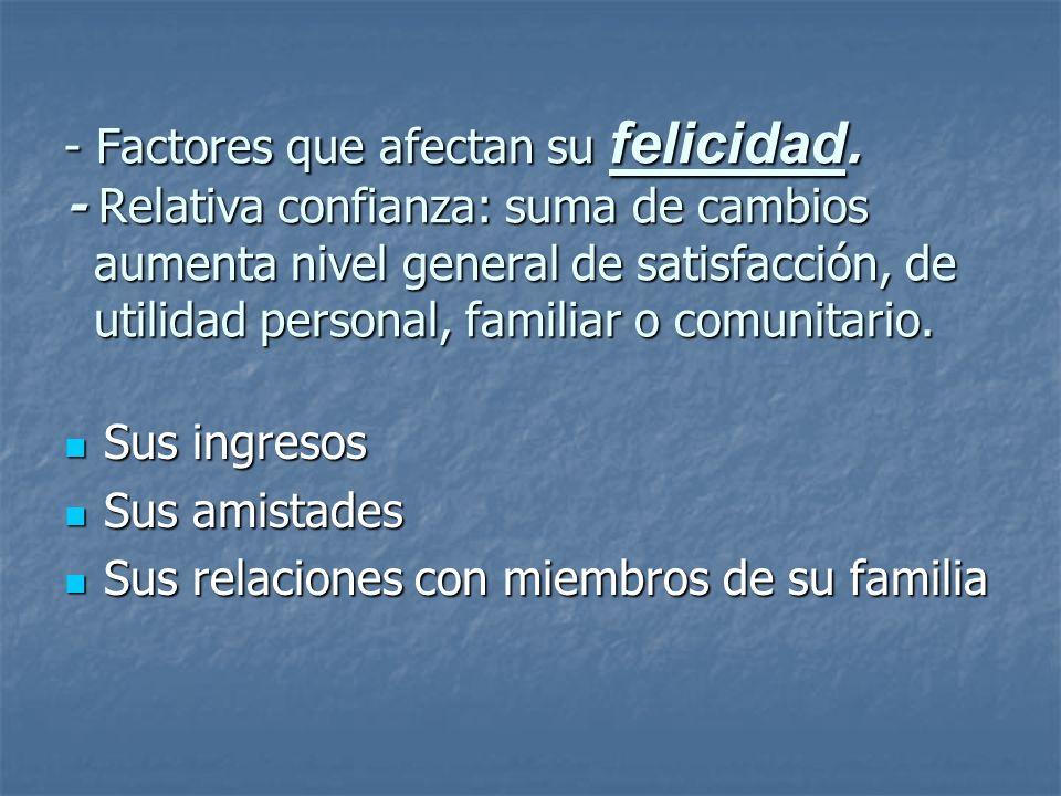 - Factores que afectan su felicidad. - Relativa confianza: suma de cambios aumenta nivel general de satisfacción, de utilidad personal, familiar o com