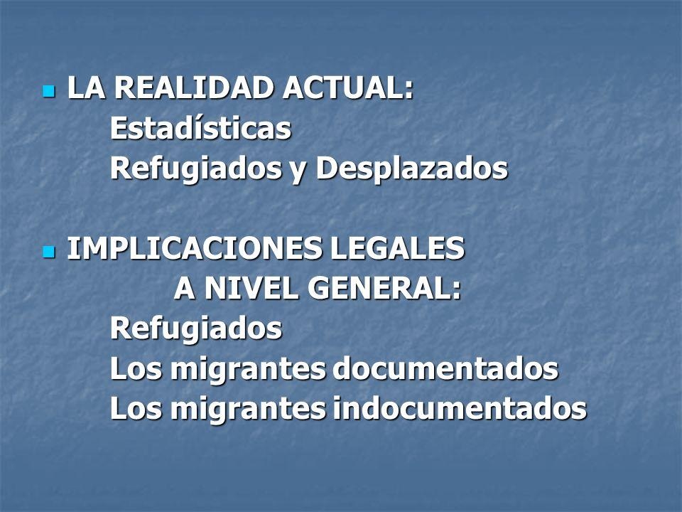 LA REALIDAD ACTUAL: LA REALIDAD ACTUAL:Estadísticas Refugiados y Desplazados IMPLICACIONES LEGALES IMPLICACIONES LEGALES A NIVEL GENERAL: A NIVEL GENE