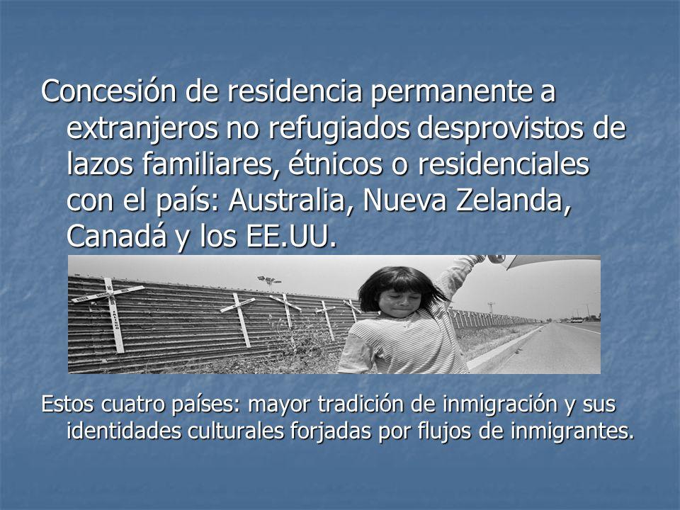 Concesión de residencia permanente a extranjeros no refugiados desprovistos de lazos familiares, étnicos o residenciales con el país: Australia, Nueva