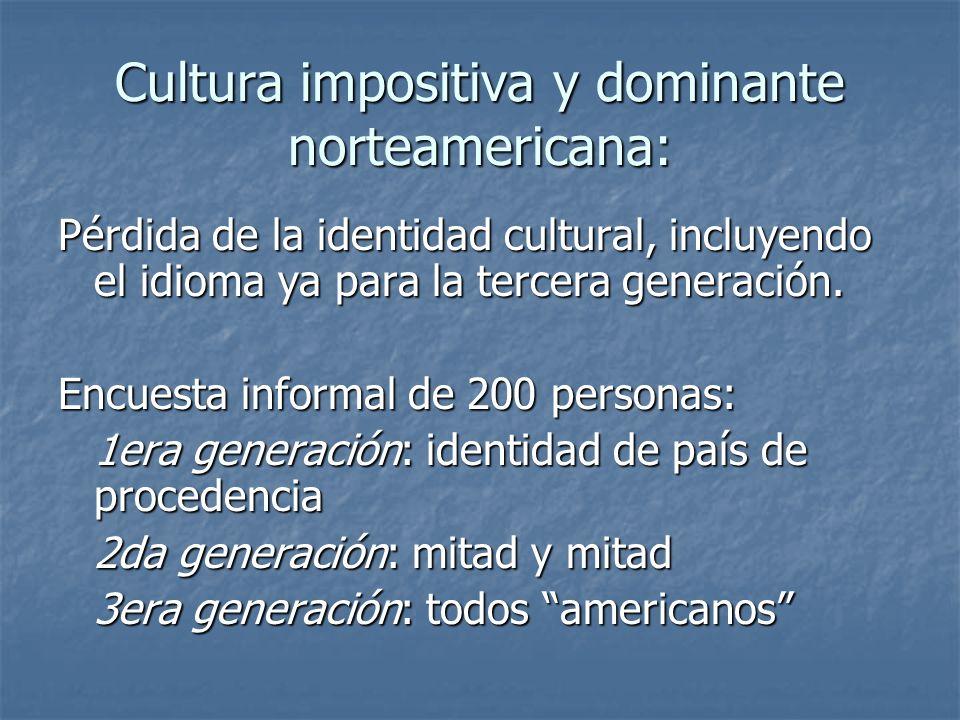 Cultura impositiva y dominante norteamericana: Pérdida de la identidad cultural, incluyendo el idioma ya para la tercera generación. Encuesta informal