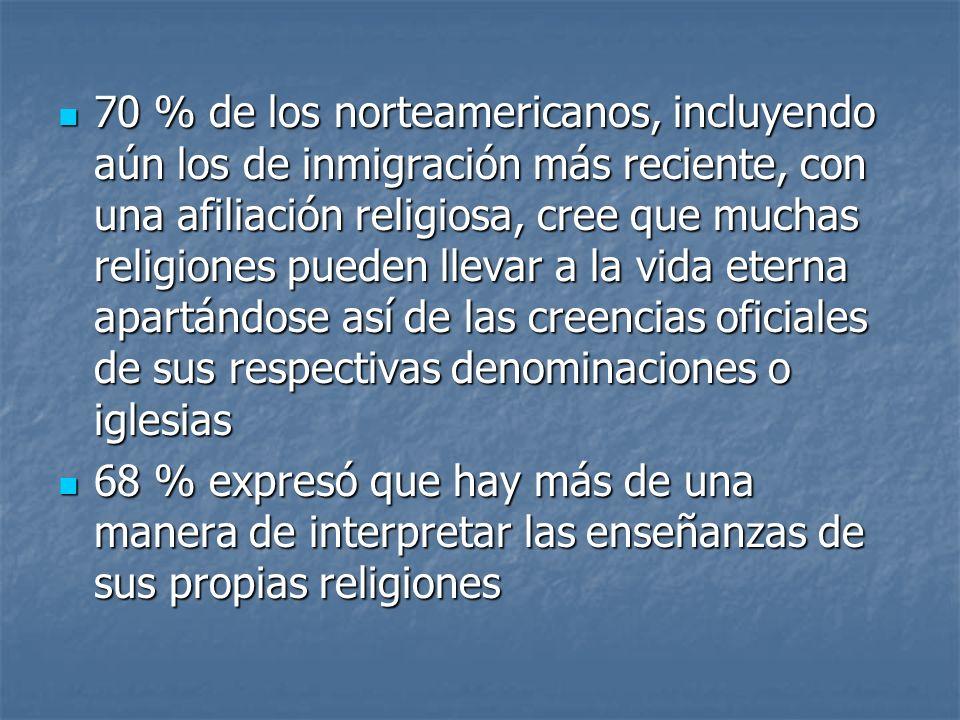70 % de los norteamericanos, incluyendo aún los de inmigración más reciente, con una afiliación religiosa, cree que muchas religiones pueden llevar a