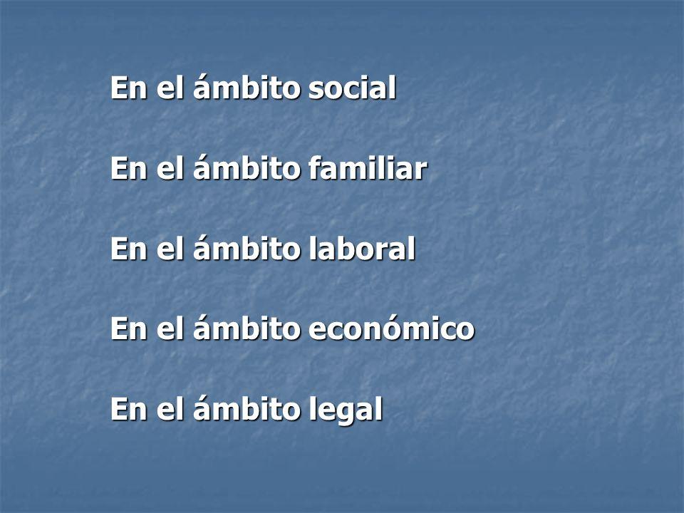 En el ámbito social En el ámbito familiar En el ámbito laboral En el ámbito económico En el ámbito legal