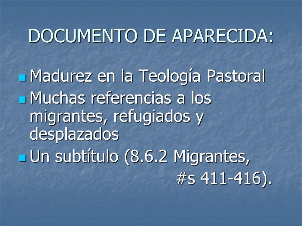 DOCUMENTO DE APARECIDA: Madurez en la Teología Pastoral Madurez en la Teología Pastoral Muchas referencias a los migrantes, refugiados y desplazados M