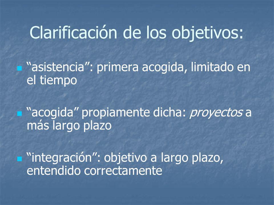 Clarificación de los objetivos: asistencia: primera acogida, limitado en el tiempo acogida propiamente dicha: proyectos a más largo plazo integración: