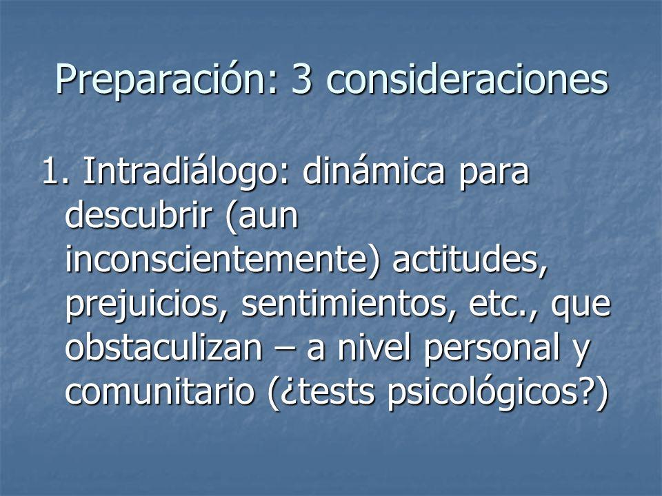 Preparación: 3 consideraciones 1. Intradiálogo: dinámica para descubrir (aun inconscientemente) actitudes, prejuicios, sentimientos, etc., que obstacu