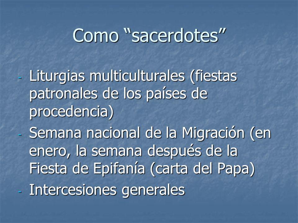 Como sacerdotes - Liturgias multiculturales (fiestas patronales de los países de procedencia) - Semana nacional de la Migración (en enero, la semana d