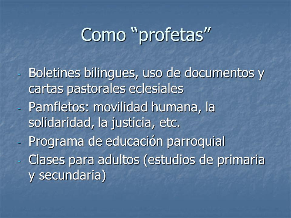 Como profetas - Boletines bilingues, uso de documentos y cartas pastorales eclesiales - Pamfletos: movilidad humana, la solidaridad, la justicia, etc.