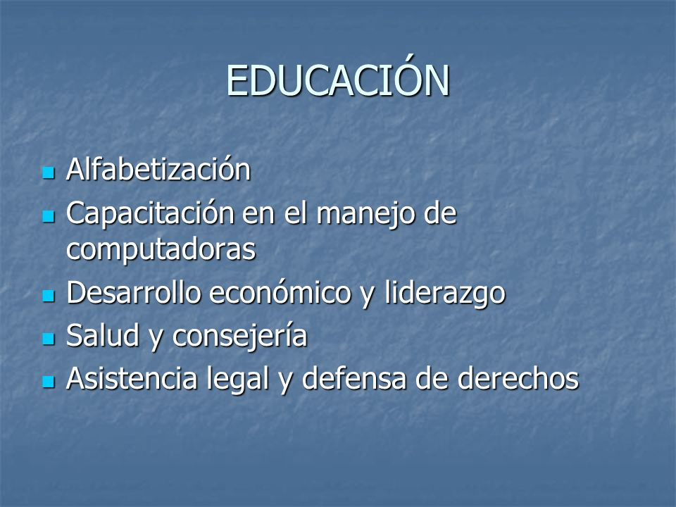 EDUCACIÓN Alfabetización Alfabetización Capacitación en el manejo de computadoras Capacitación en el manejo de computadoras Desarrollo económico y lid