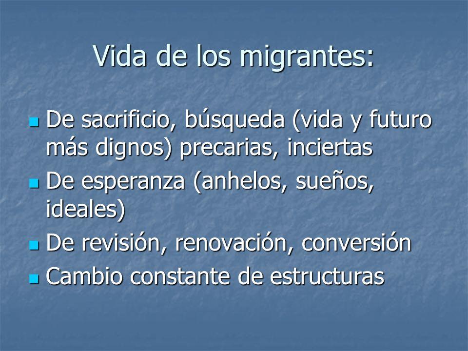 Vida de los migrantes: De sacrificio, búsqueda (vida y futuro más dignos) precarias, inciertas De sacrificio, búsqueda (vida y futuro más dignos) prec