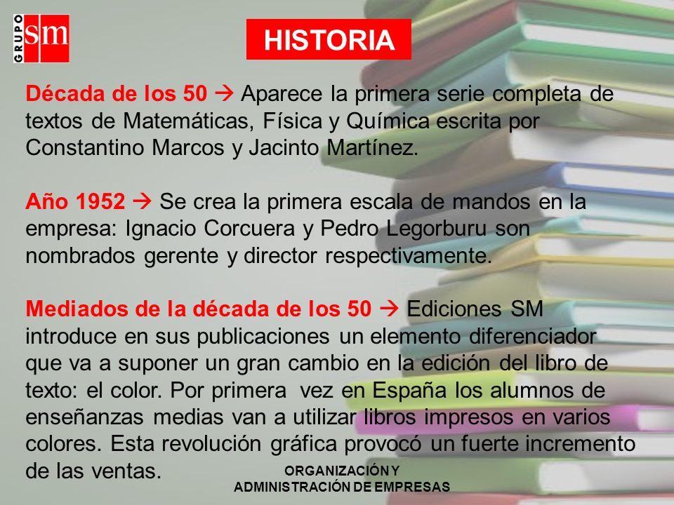 ORGANIZACIÓN Y ADMINISTRACIÓN DE EMPRESAS HISTORIA Año 1961 Se construye el edificio de la editorial en la calle General Tabanera, hoy Joaquín Turina (Madrid).