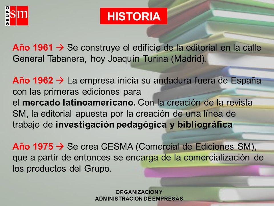 ORGANIZACIÓN Y ADMINISTRACIÓN DE EMPRESAS HISTORIA Año 1961 Se construye el edificio de la editorial en la calle General Tabanera, hoy Joaquín Turina